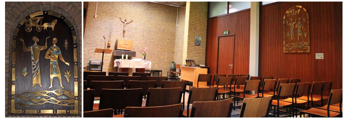 Foto links: Het icoon, voor de restauratie, in de Kapel van het Franse Klooster (anno 2008). Foto rechts: Het icoon, na de restauratie, in de dagkapel van de parochiekerk van Vrangendael-Sittard (annoie 2015). (foto: Stichting Behoud Franse Klooster)