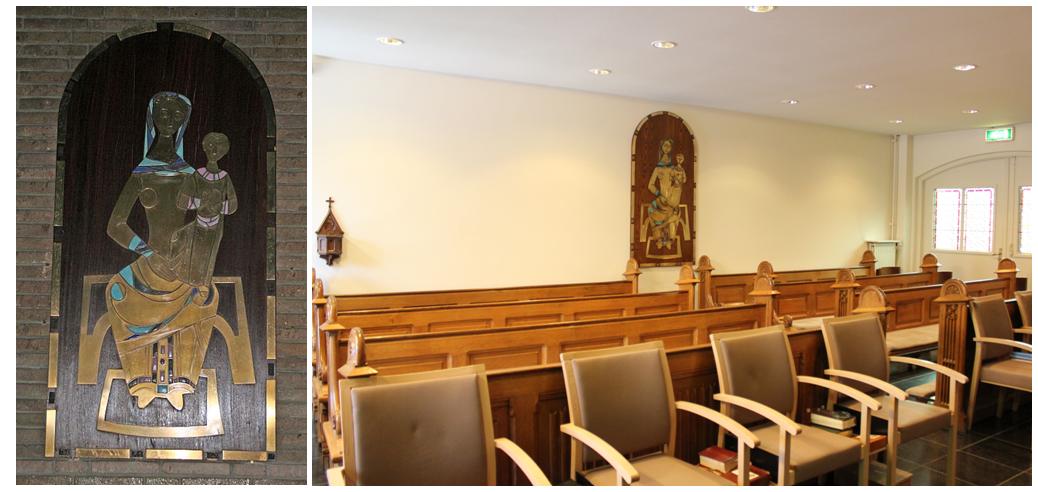 """Foto links: Het icoon, voor de restauratie, in de Kapel van het Franse Klooster (anno 2008). Foto rechts: Het icoon heeft in 2016, na de restauratie, een nieuwe bestemming gekregen in de kapel van het klooster van de """"Liefdezusters van het Kostbaar Bloed"""" op de Windraak. (foto: Stichting Behoud Franse Klooster)"""