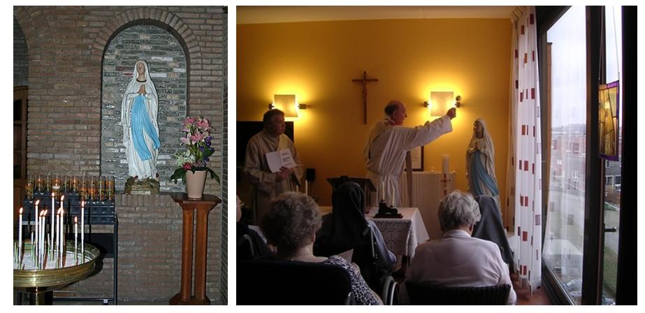 """Devotie-altaar achter in de Kapel. Inzegening gebedsruimte """"Hoogstaete""""."""