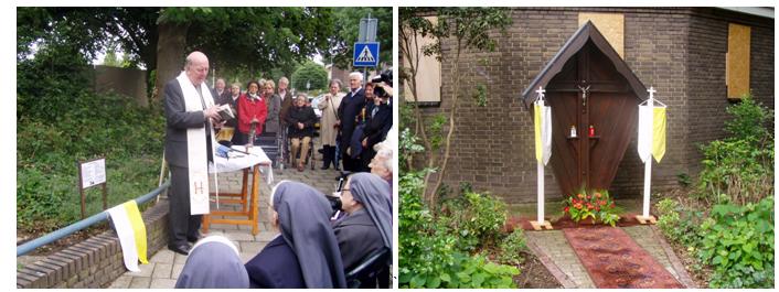 deken van Rens zegent het gerestaureerde wegkruis in (19 juni 2011)