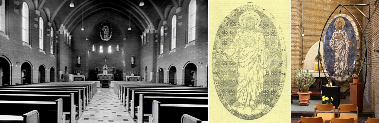 Foto links: De Opaline in de Kapel van het Franse Klooster (circa. 1932). Foto rechts: De Opaline in de parochiekerk H. Hart van Jezus te Overhoven-Sittard (circa. 2010).